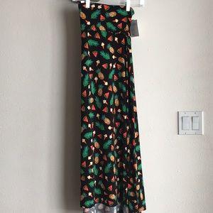 🍉LuLaRoe Maxi Skirt Black w/Summer Fun 3x NWT
